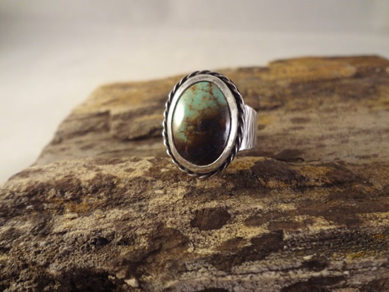 Hand made one of a kind sterling silver and natural turquoise image 0