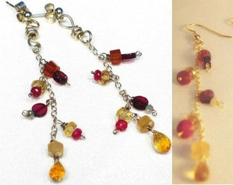 Ruby citrine garnet 9ct white or yellow gold earrings