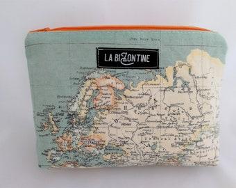 world map cotton zipper clutch
