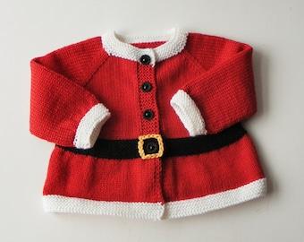 Santa sweater Santa cardigan for baby Santa coat Xmas baby sweater Christmas sweater MADE TO ORDER