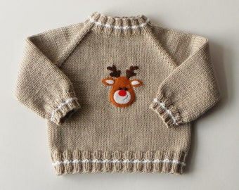 Rudolph deer sweater xmas deer sweater merino wool xmas sweater baby xmas outfit knitted baby xmas gift MADE TO ORDER