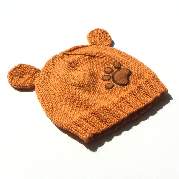 Light brown baby hat knitted baby bear hat orange toddlers hat  184345dfaf1f