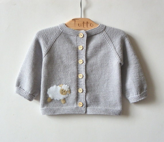 Light grey baby swetaer with little lamb merino baby jacket | Etsy