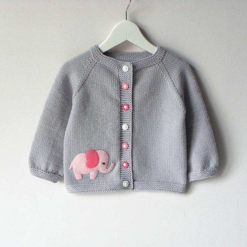 b4d1356dc Pink elephant sweater silver grey baby girl jacket merino wool