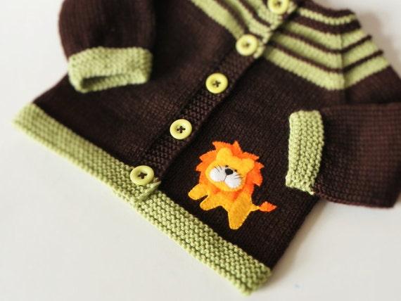 Lion Pullover stricken Baby Pullover braun Baby Jacke Merino | Etsy