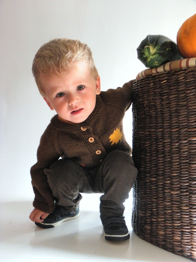 Brown baby sweater autumn jacket with leaves knit baby outfit image 0