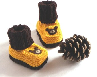 Yellow and brown baby booties knitt bear booties newborn booties Size 0-3 Months Ready to ship