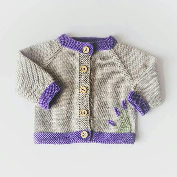 Purple Baby Cardigan Lavender Baby Sweater Knitted Newborn Sweater Purple Baby Top Newborn Purple Cardigan Lavender Baby Cardigan