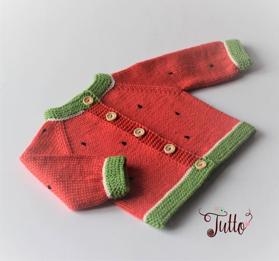 Watermelon Sweater Baby Girl Cardigan Hand Knit Sweater Wool Etsy