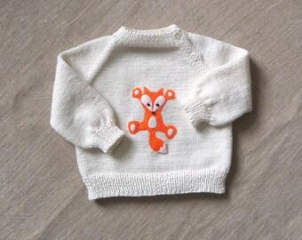 Fox sweater white merino wool baby sweater with fox design baby fox MADE TO ORDER
