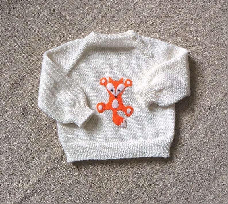Fox sweater white merino wool baby sweater with fox design image 0
