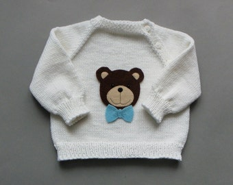 Babyboy bear sweater white knitted baby sweater soft wool sweater MADE TO ORDER