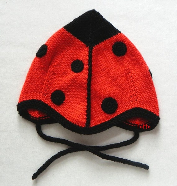 Red ladybug baby girls hat knitted toddler hat baby pilot hat  a70c54125913