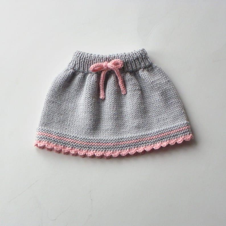 e3b0b607e6a9 Baby skirt knitted baby skirt merino wool skirt grey and pink