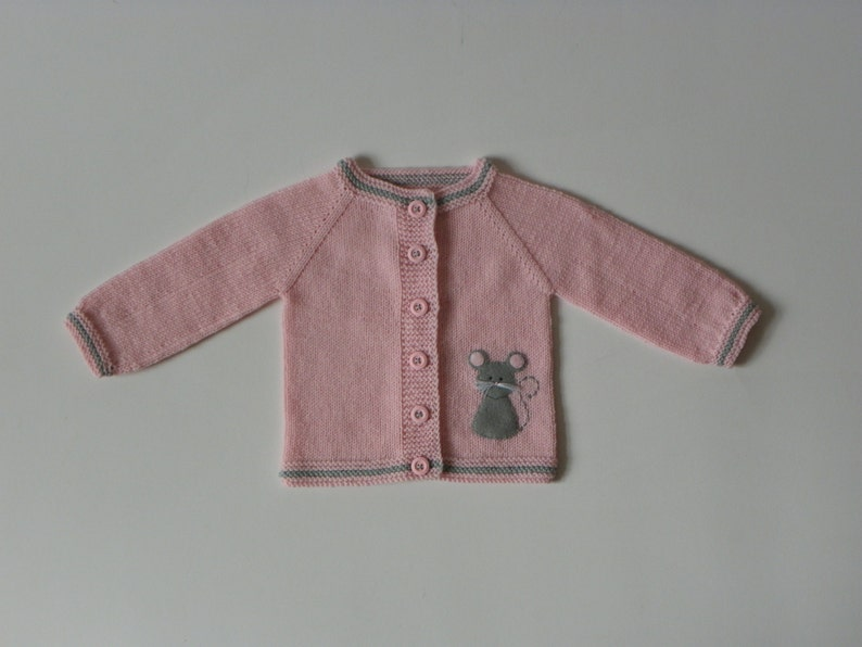Light pink baby girl jacket with mice knit merino sweater with grey mouse MADE TO ORDER