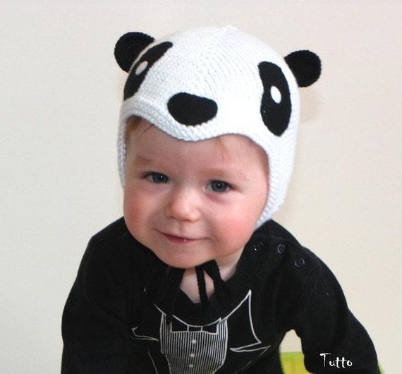 Spring baby hat panda hat baby pilot hat knit black and white  88b82bdf110
