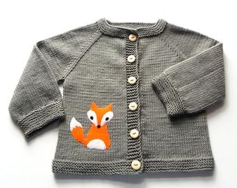 Fox sweater knitted baby jacket dark gray sweater merino wool baby fox cardigan Made to Order
