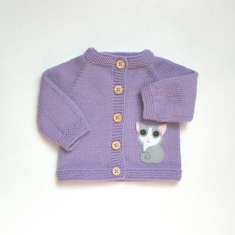 9f9449549 Lavender baby jacket with kitten light purple knit baby