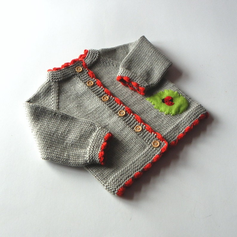 Ladybug baby sweater knitted baby spring jacket grey and red merino cardigan MADE TO ORDER
