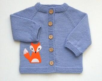 lavander baby jacket fox jacket knit baby merino sweater kids cardigan MADE TO ORDER