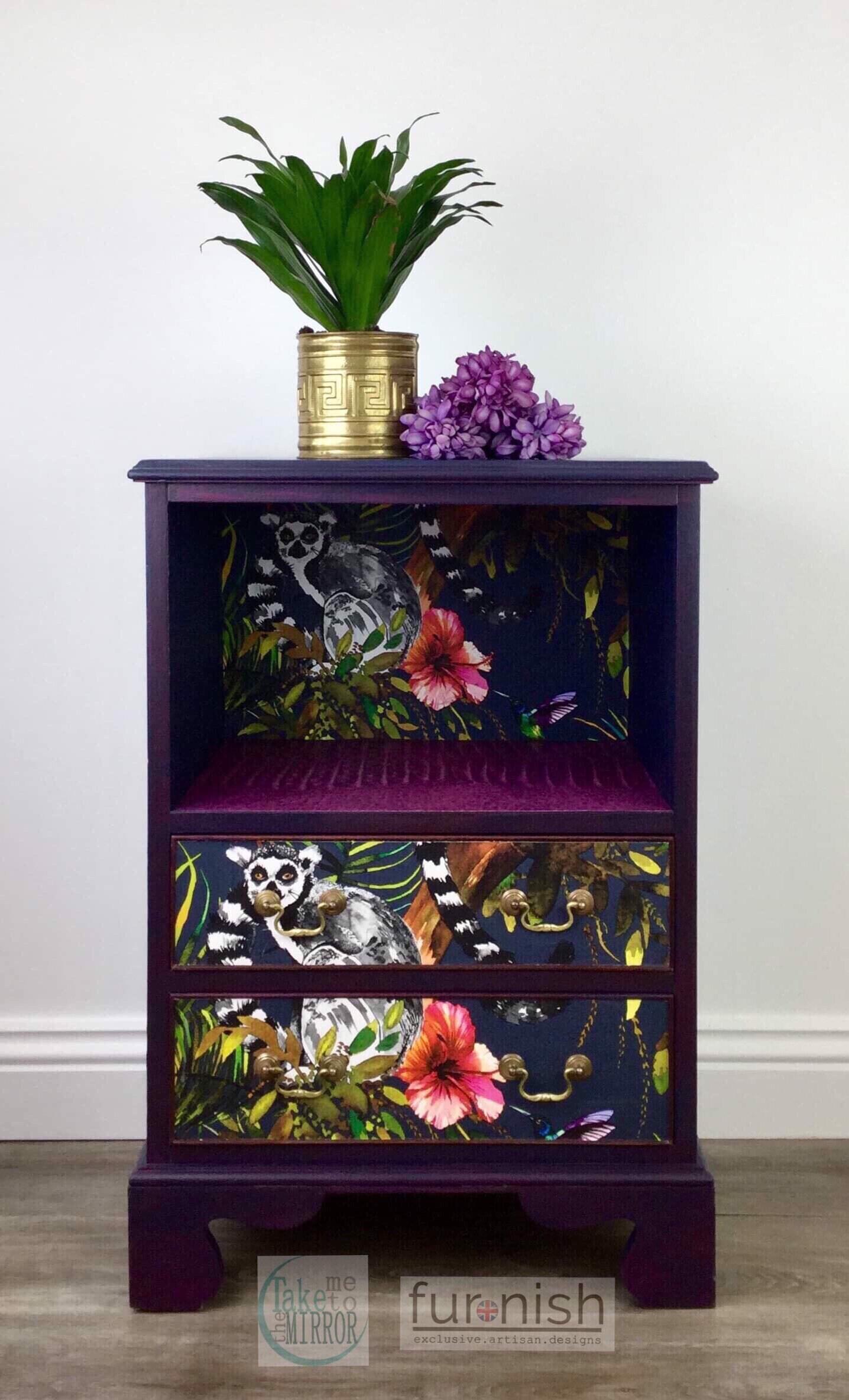 Funky Jungle Vintage Painted Purple Blue Side Cabinet Nightstand Table Cupboard