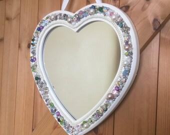 Bespoke, heart shape beaded mirror, wall mirror, horse lover, OOAK, bespoke gift.
