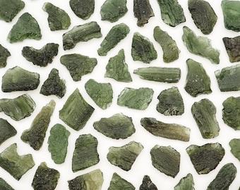 ONE Moldavite genuine stone from Chlum, Czech Republic authentic tektite specimen raw crystal loose