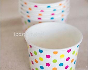 20 Polka Dot Ice Cream Cups 8 oz