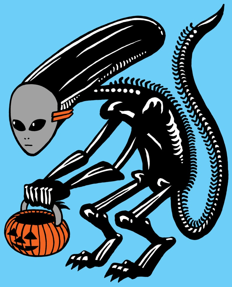 Trick Or Treat Alien Screen Printed Poster image 0