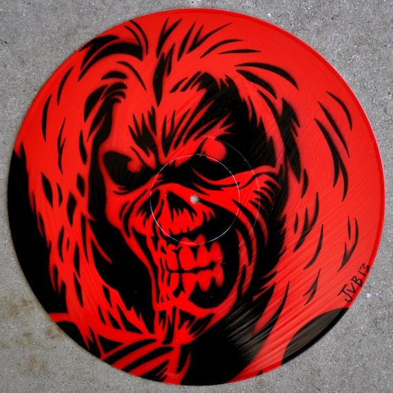 Items Similar To Eddie Stencil Portrait On Repurposed Vinyl Record