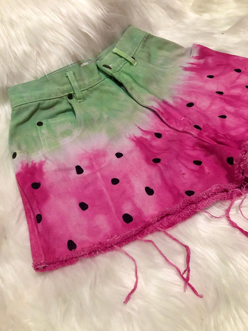 Watermelon dyed high wasted denim shorts size 27 Women\u2019s one of a kind