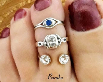 SOLID Sterling Silver 925 Adjustable Blue Sapphire Evil Eye Toe Ring Set, Cubic Zirconia Statement Toe Ring Set, Body Jewelry Set for Women