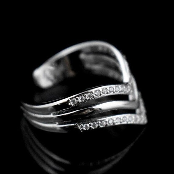 Lucky Good Omen Ring SOLID Sterling Silver 925 CZ Wishbone Thumb Finger Ring