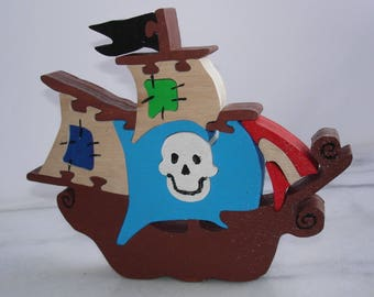 Pirate ship puzzle wooden 15 pieces