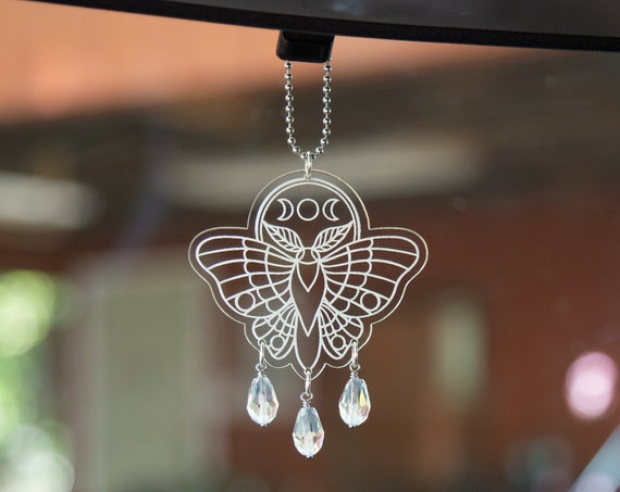 Witchy Moon Moth Rearview Mirror Hanger, Car Charm, Car Accessory, Witchy Aesthetic