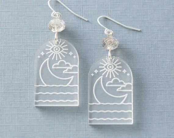 Crescent Moon in Water Acrylic Earrings, Mystic Jewelry