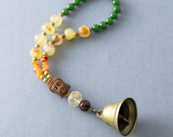 Bohemian Buddha Doorbell Brass Bell Door Knob Hanger, Door Decor, Door Bell, Boho Home Decor, Hippie Home Decor