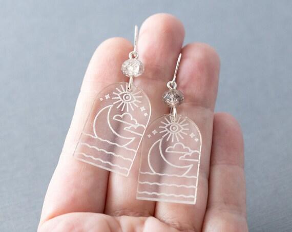 Moon in Water Earrings, Cloud Earrings, Eye Earrings, Mystic Earrings, Arch Earrings, Mystical Jewelry, Celestial Jewelry, Mystic Jewelry