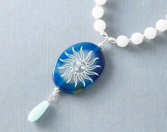 Blue Agate Sun Beaded Necklace, Stone Pendant Necklace, Celestial Jewelry
