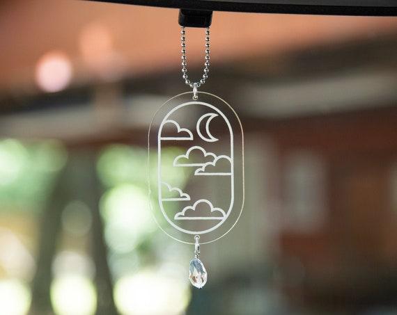 Cloud & Crescent Moon Rearview Mirror Hanger, Car Charm, Car Accessory