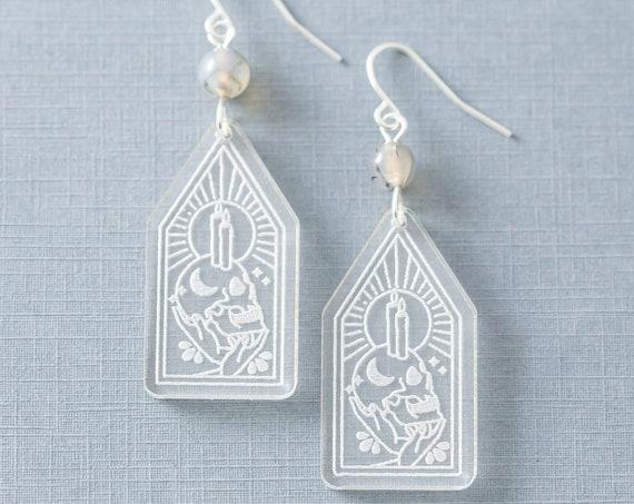 Magic Ritual Skull Earrings, Candle Earrings, Witchy Earrings, Gothic Earrings, Goth Jewelry, Moon Jewelry