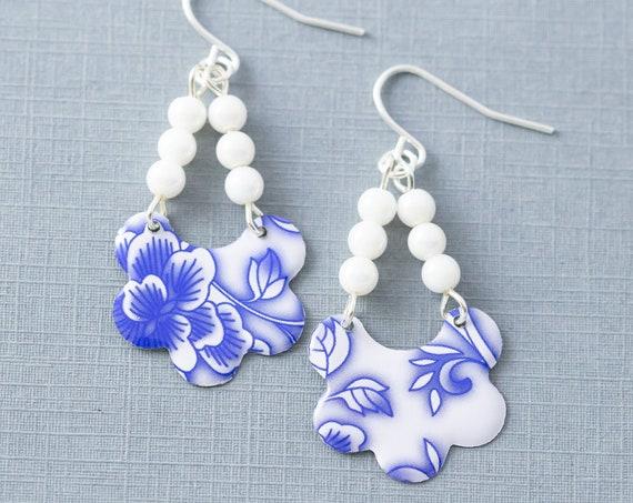 Cobalt Blue and White Earrings, Beaded Earrings, Tea Tin Earrings, Blue Flower Earrings, Tin Jewelry, Cobalt Blue Jewelry, Dangle Earrings