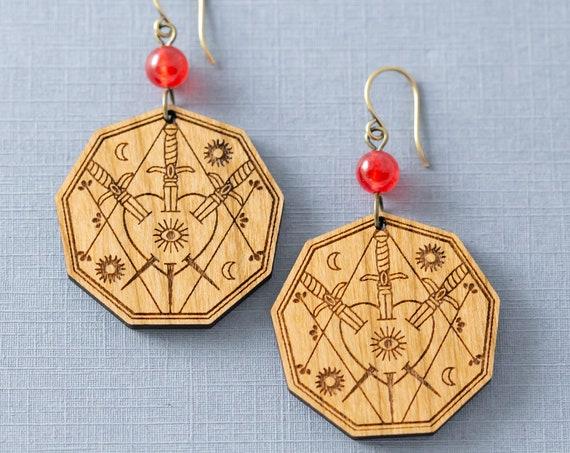 Three of Swords Tarot Card Earrings, Tarot Jewelry, Witchy Jewelry, Mystic Jewelry