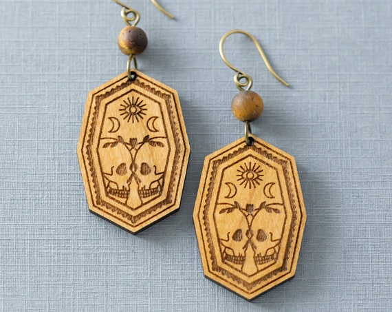 Skull Love Gothic Earrings, Witchy Earrings, Goth Earrings, Skull Jewelry, Tigers Eye Jewelry