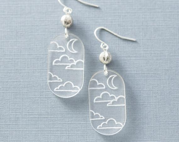 Acrylic Cloud & Moon Earrings, Nature Jewelry