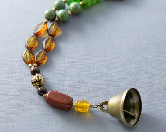 Bohemian Doorbell Brass Bell Door Knob Hanger, Door Decor, Door Bell, Boho Home Decor, Hippie Home Decor