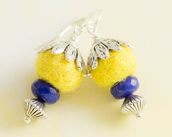 Small Yellow Felted Earrings with Blue Faceted Beads and Silver Leaf Bead Caps, Feminine Earrings, Yellow Felt Jewelry