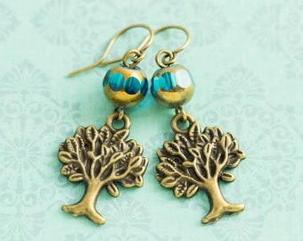Tree Earrings with Teal Blue Czech Glass Beads and Antique Brass, Tree Jewelry, Nature Jewelry