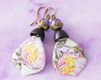Pink Flower Teardrop Vintage Tin Earrings with Vintage Wooden Bead Caps and Purple Glass Beads, Antique Brass, Boho Chic Jewelry.