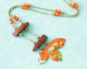 Orange Flower Vintage Tin Ladder Necklace with Vintage Wooden Beads and Carnelian Beads and Antique Brass Chain, Carnelian Necklace..